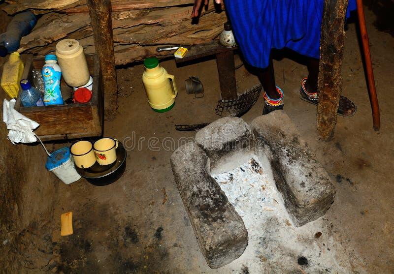 Maasai kitchen, Kenya. Maasai kitchen in a Maasai hut in rural Kenya stock image