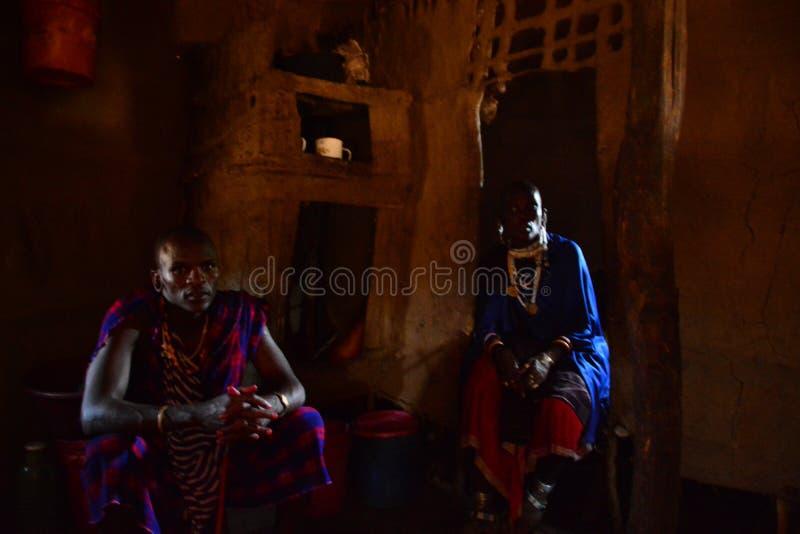 Maasai-Leutesafari Tansania stockbild