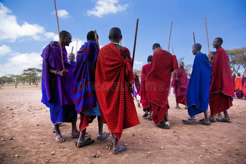 Maasai Männer in ihrem Kulttanz in ihrem Dorf in Tanzania, Afrika stockfoto