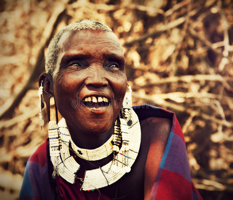 Maasai old woman portrait in Tanzania, Africa stock photography