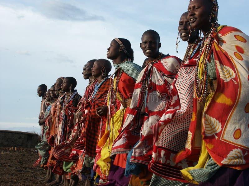 Maasai women dancing stock images
