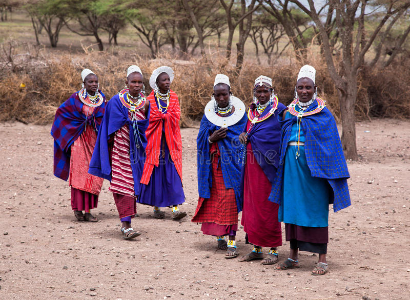 Maasai women in front of their village in Tanzania, Africa royalty free stock images
