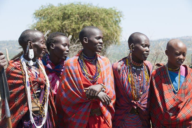 Maasai Women, Tanzania, smiling young and old women of masai tribe stock photo