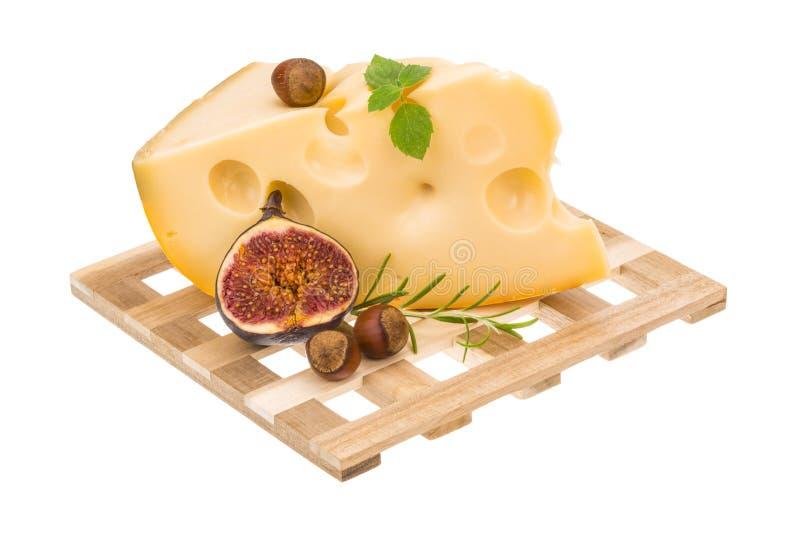 Maasdam乳酪用无花果 免版税库存图片