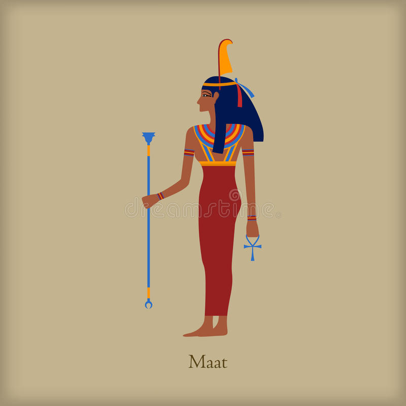 Maat, Goddess of justice icon, flat style vector illustration