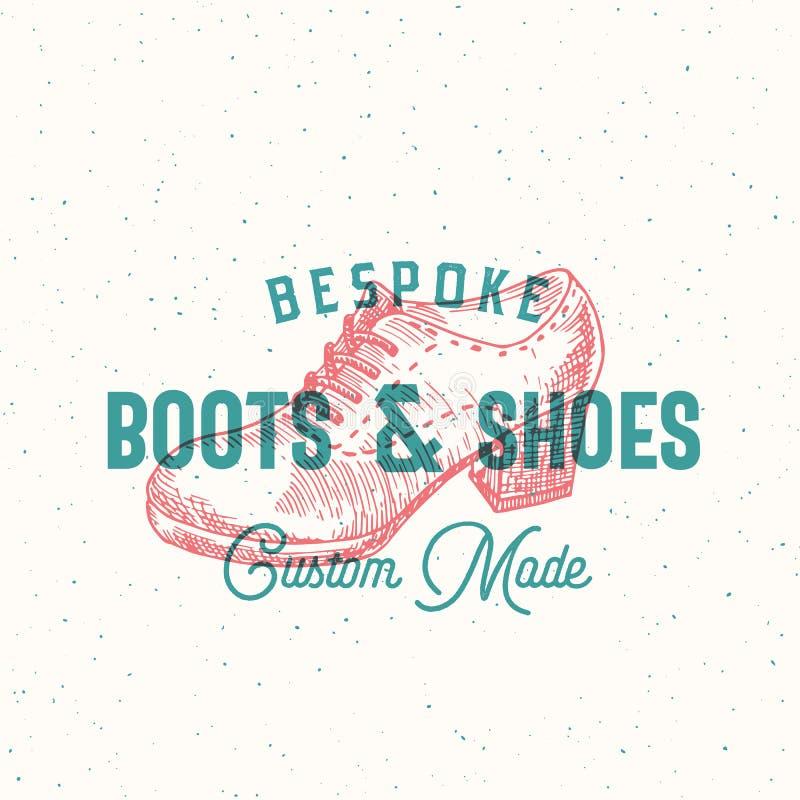 Maatlaarzen en Schoenen Retro Vectorteken, Symbool of Logo Template De Illustratie van de vrouwenschoen en Uitstekende Typografie stock illustratie