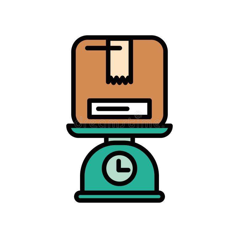 Maatregel schalen met kartonnen kartonnen verpakkende postdienst stock illustratie