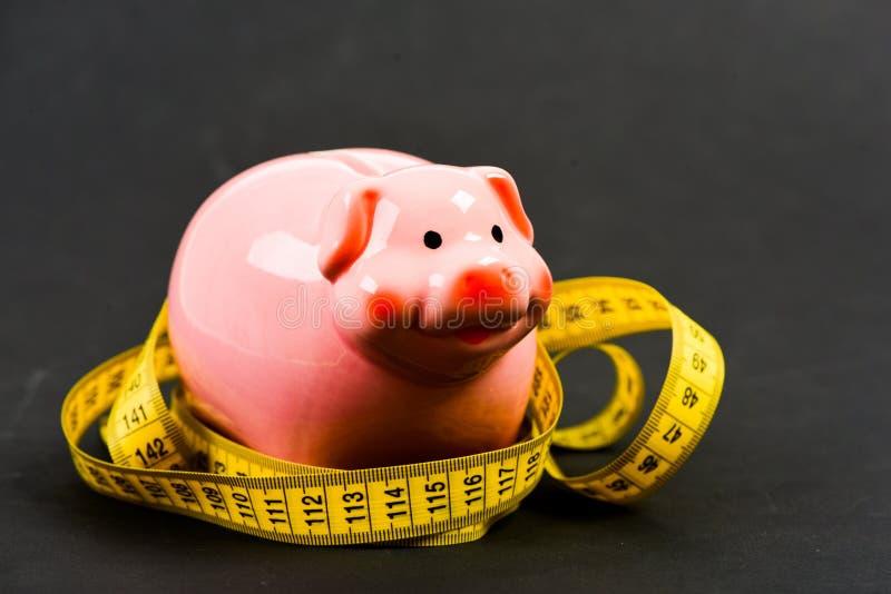 Maatregelenkosten Beperkt of beperkt De schuld van de kredietlening Spaarvarken en het meten van band Het concept van de begrotin stock fotografie