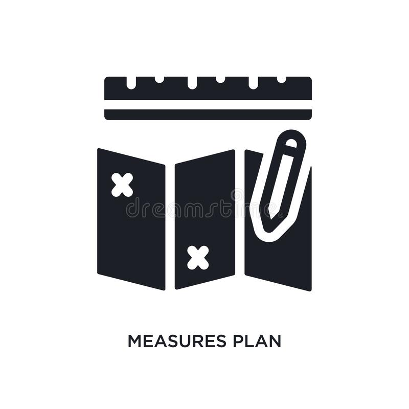 maatregelenplan geïsoleerd pictogram eenvoudige elementenillustratie van de pictogrammen van het bouwconcept de maatregelen plann stock illustratie