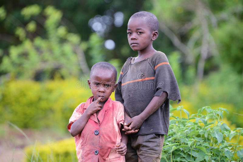 Hungry & Poor Small Boys in Uganda stock photos