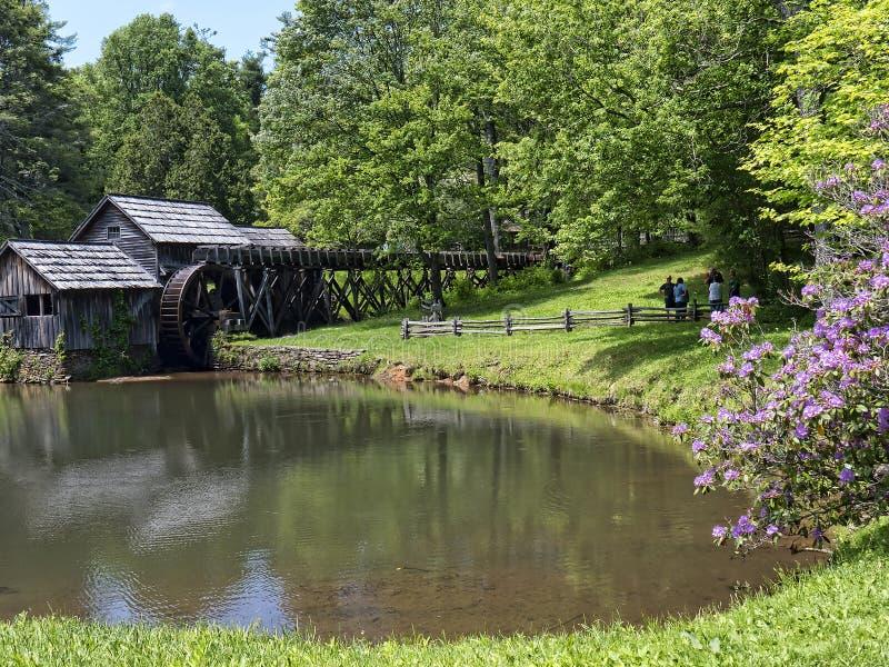 Mabry młyn w Blue Ridge Mountains Virginia usa obrazy royalty free