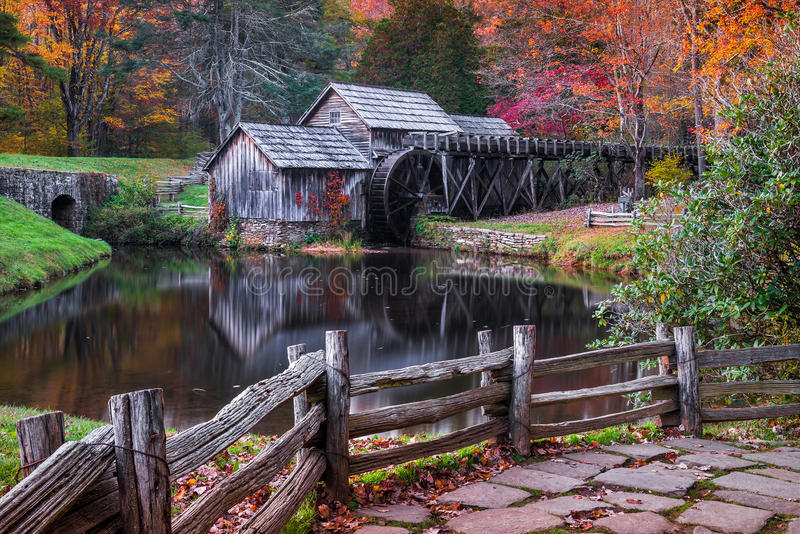 Mabry mill, blue ridge parkway, virginia stock photography
