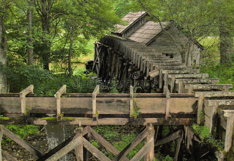 Mabry Mill Reflection. Mabry Mill, a popular tourist spot, is located on the Blue Ridge Parkway near Meadows of Dan, Virginia royalty free stock photo