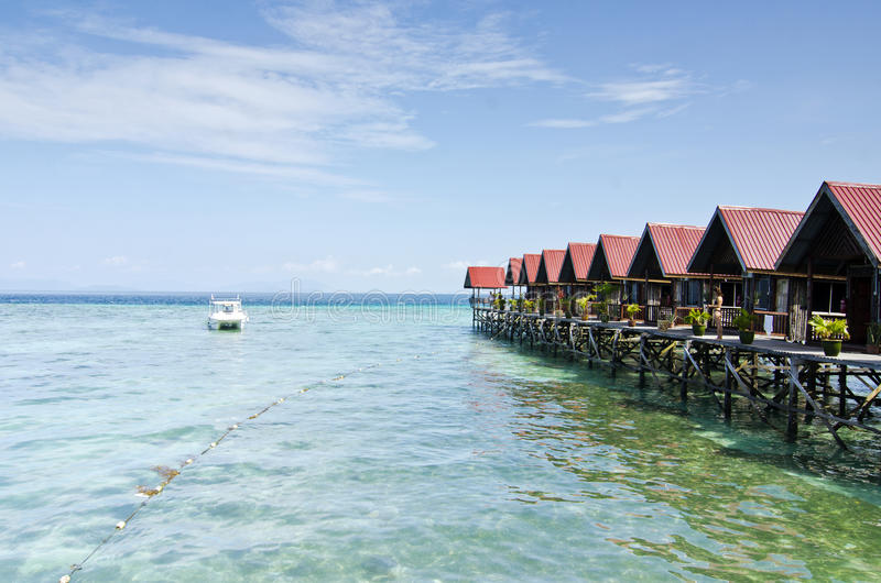 Mabul Island view Turquoise Tropical Paradise Borneo from floating resort royalty free stock image