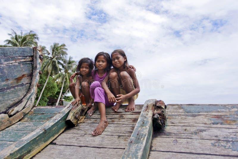 MABUL wyspa, MALAYSIA-SEPTEMBER 23rd: Niezidentyfikowany Denny Bajau c zdjęcie royalty free