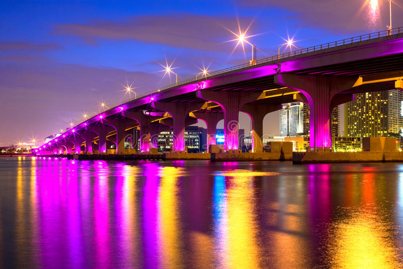 Mac Arthur Causeway, Miami stock photo