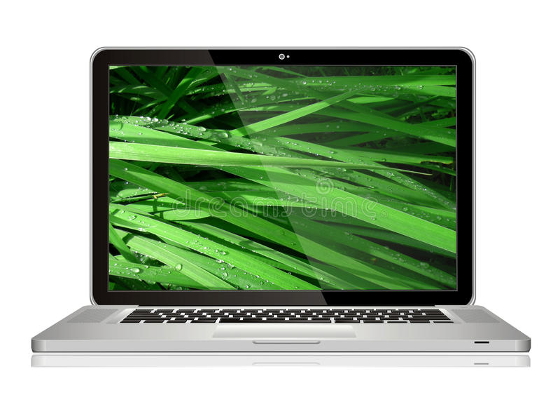 Mac book. Apple macbook laptop with grass on screen