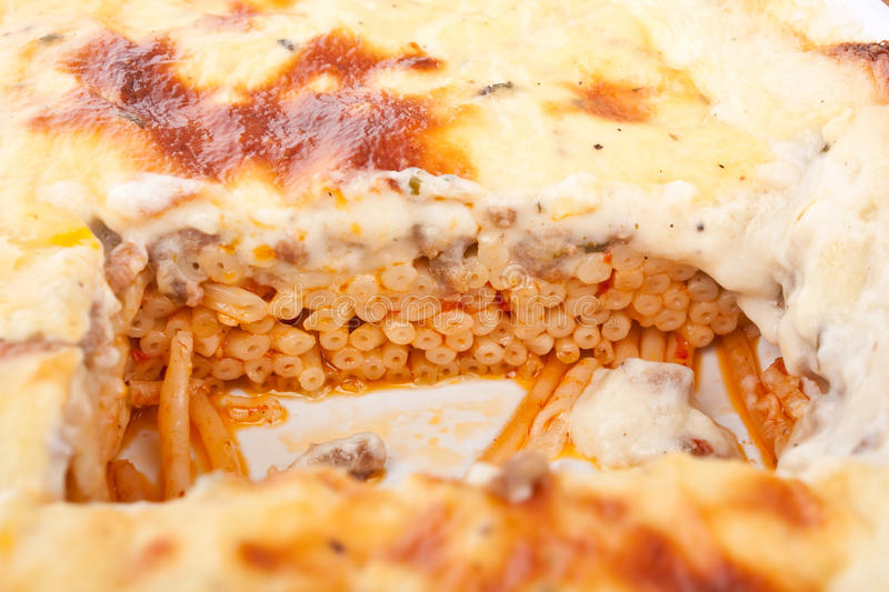 Mac and Cheese Bolognese Bake Close up royalty free stock images