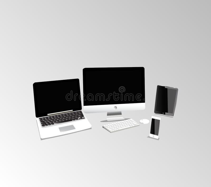 Mac-produktuppsättning vektor illustrationer