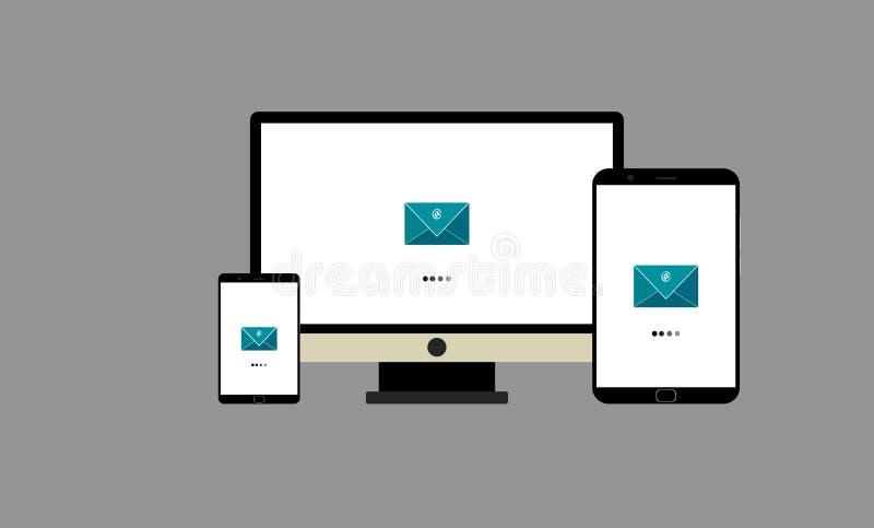 Mac vs illustration för vektor för androidöppningsmeddelanden isolerat royaltyfri illustrationer