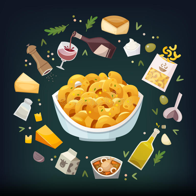 Mac y queso ilustración del vector