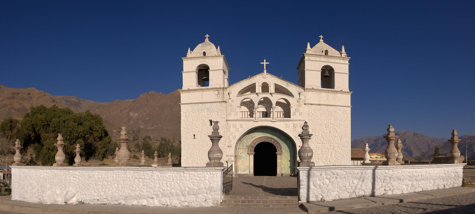 Maca Church in Colca Valley stock image