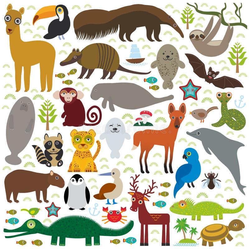 Maca för hyacint för jaguar för tvättbjörn för Maned varg för delfin för apa för manatee för boa för bältdjur för skyddsremsa för stock illustrationer