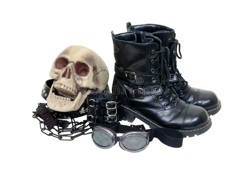 Macabre gothic leather items royalty free stock photos