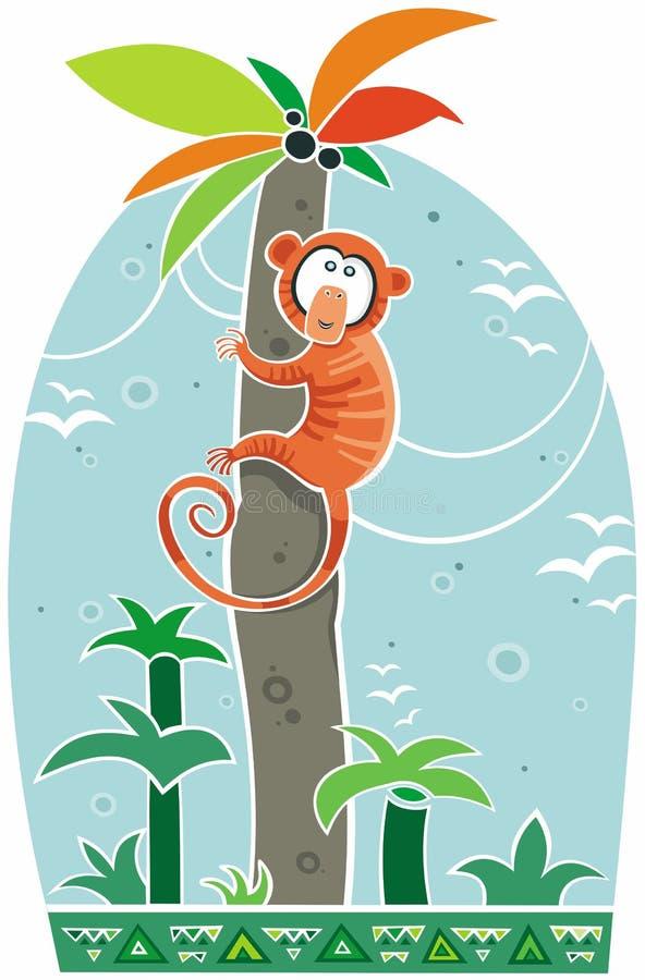 Macaco alaranjado colorido na palmeira ilustração royalty free