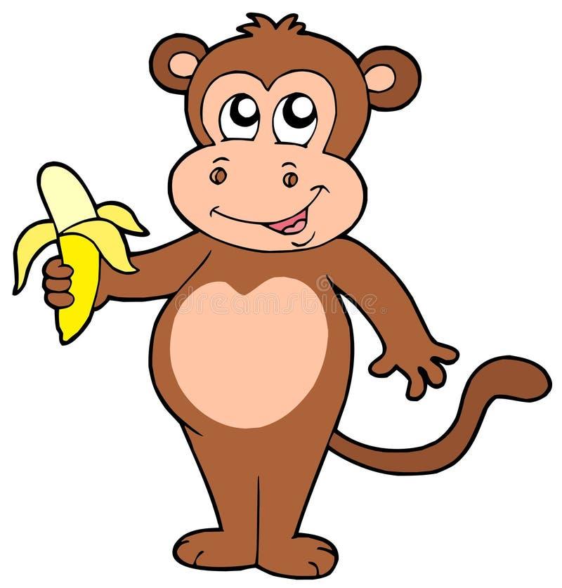Macaco bonito com banana ilustração stock