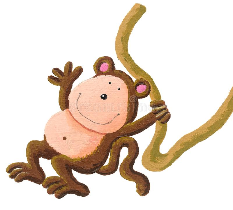 Macaco bonito do bebê que pendura na árvore ilustração do vetor
