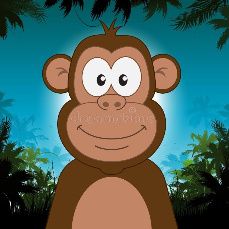 Macaco bonito dos desenhos animados na frente do fundo da selva ilustração royalty free