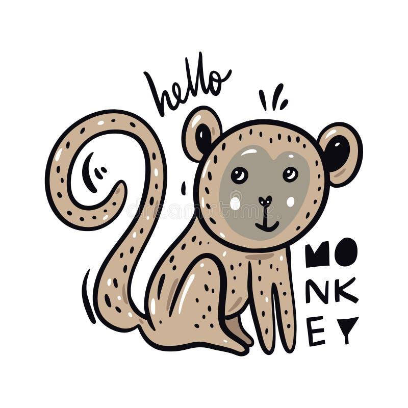 Macaco bonito no estilo dos desenhos animados Ilustra??o desenhada m?o do vetor ilustração do vetor