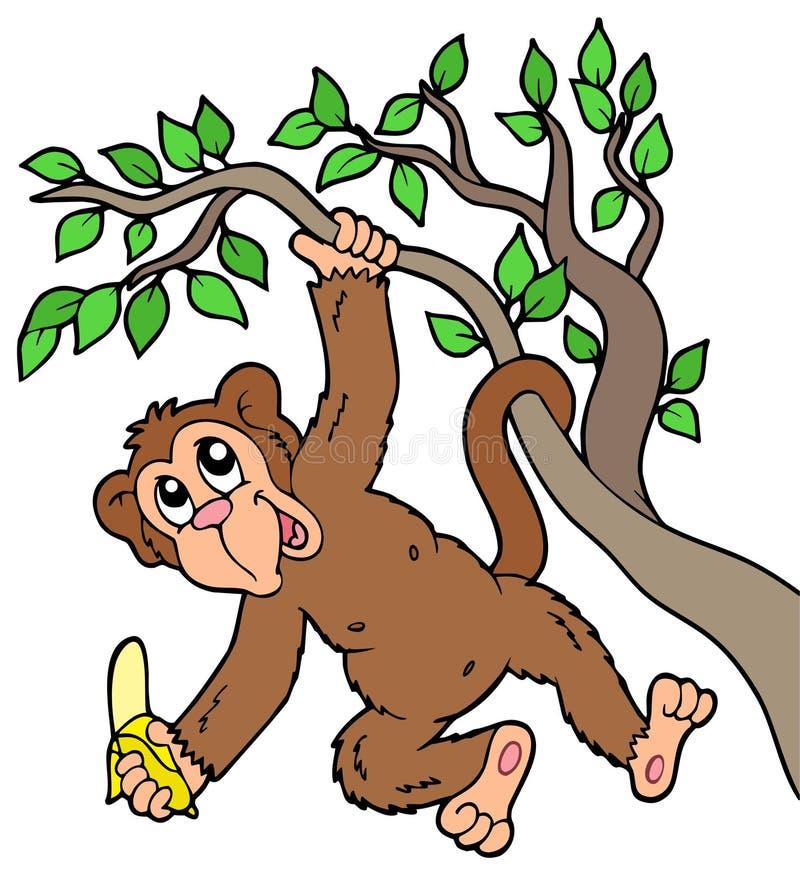 Macaco com a banana na árvore ilustração royalty free