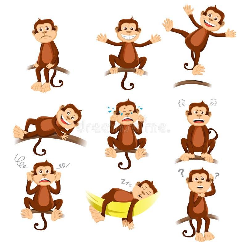 Macaco com expressão diferente ilustração do vetor