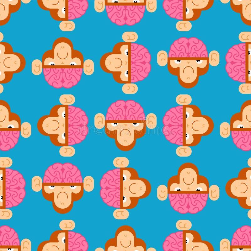 Macaco com o teste padrão do cérebro sem emenda Gorila com fundo dos cérebros Textura do vetor ilustração stock