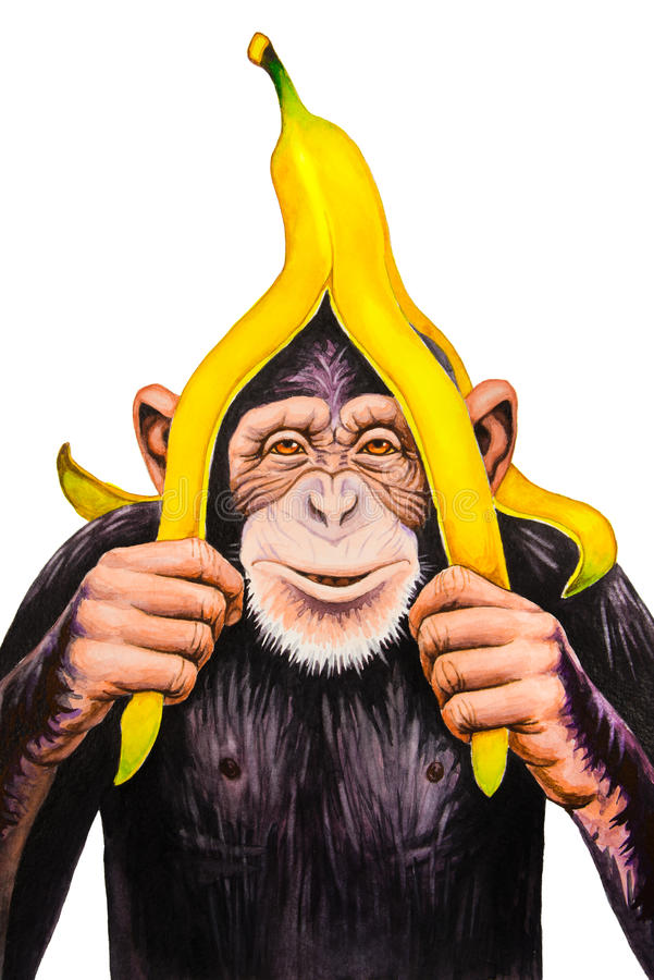 Macaco com uma casca da banana ilustração stock