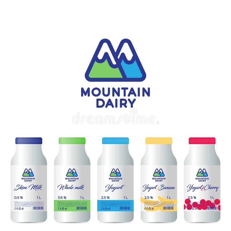 Macaco da mágica do rato da lua de Alphabet Monograma de M Logotipo dos produtos láteos da montanha A letra M é como montanhas Pr ilustração do vetor