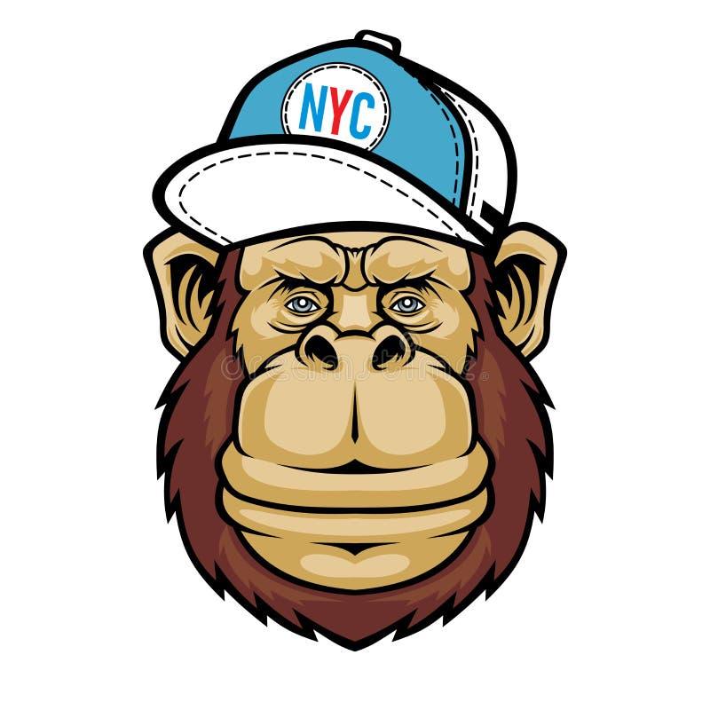 Macaco de sorriso com chap?u do tamp?o ilustração stock