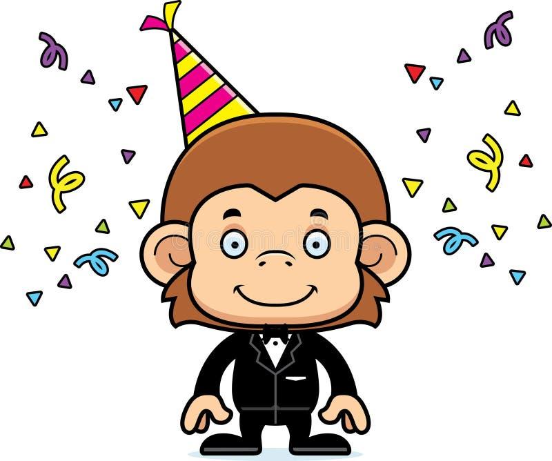 Macaco de sorriso do partido dos desenhos animados ilustração do vetor