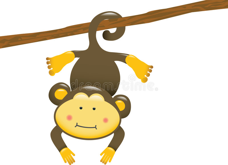 Macaco de suspensão ilustração do vetor