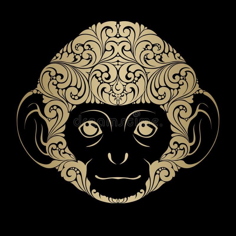 Macaco decorativo decorativo Ilustração isolada cara do vetor do logotipo do ícone do macaco ilustração stock