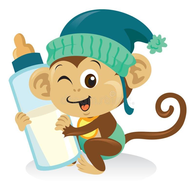 Macaco do bebê com frasco de leite