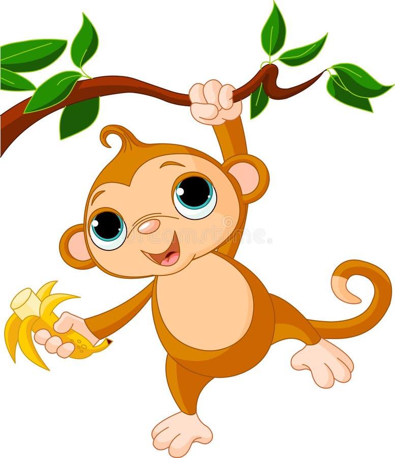 Macaco do bebê em uma árvore ilustração do vetor