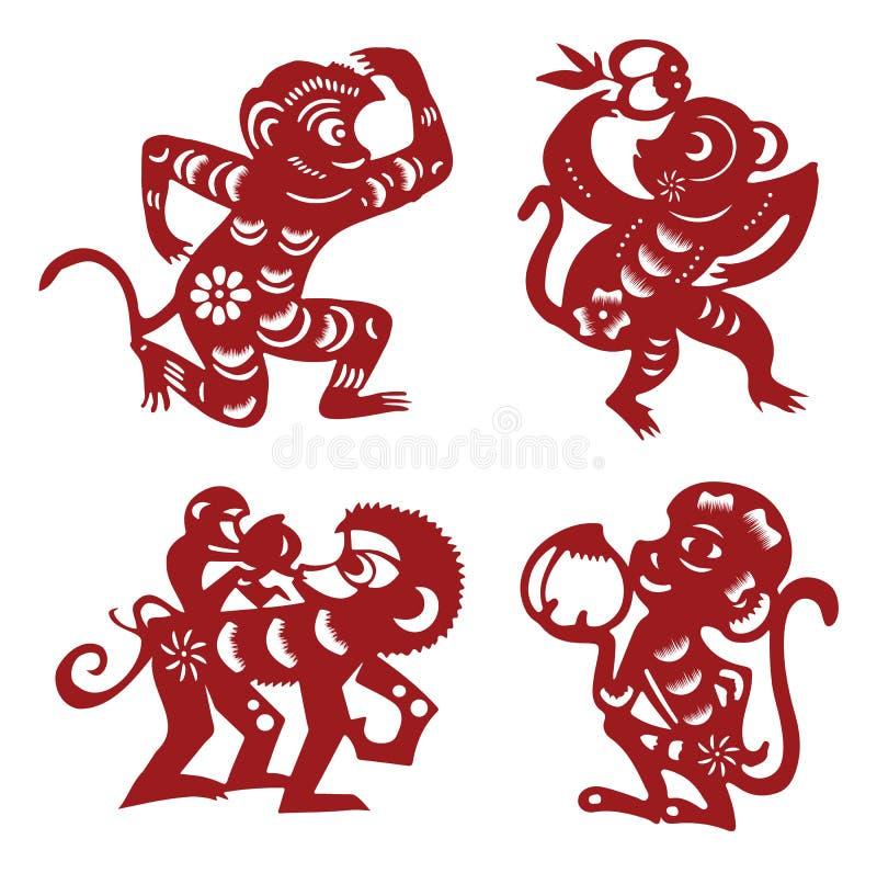 Macaco do corte do papel ilustração do vetor
