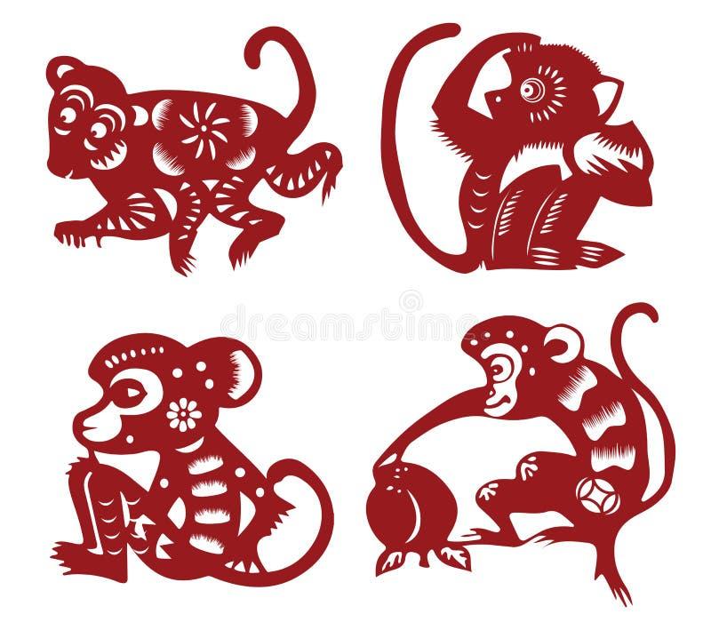 Macaco do corte do papel ilustração stock