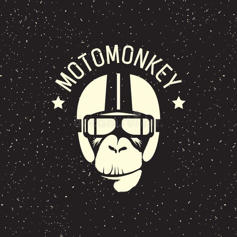 Macaco do logotipo que veste um capacete ilustração do vetor