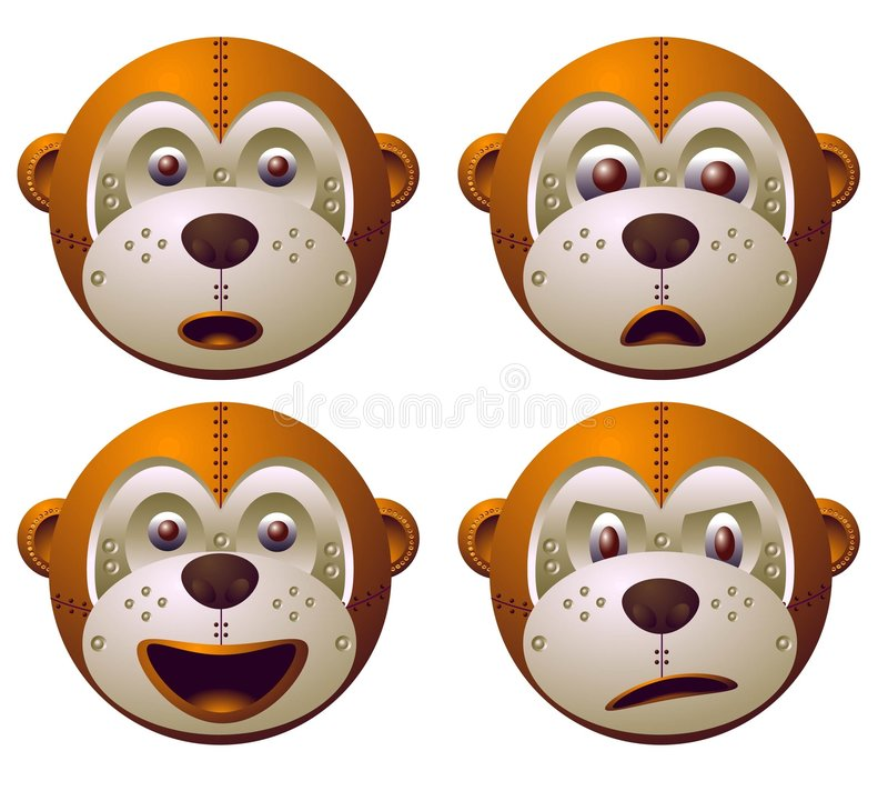 Macaco do robô ilustração royalty free