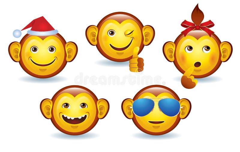 Macaco do smiley do Feliz Natal ilustração do vetor