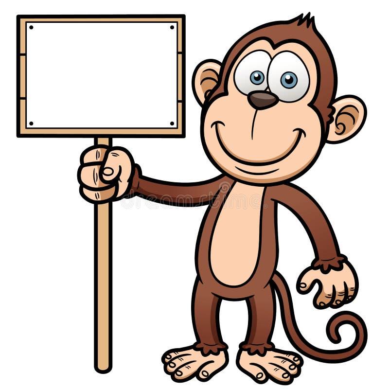 Macaco dos desenhos animados com sinal de madeira ilustração royalty free